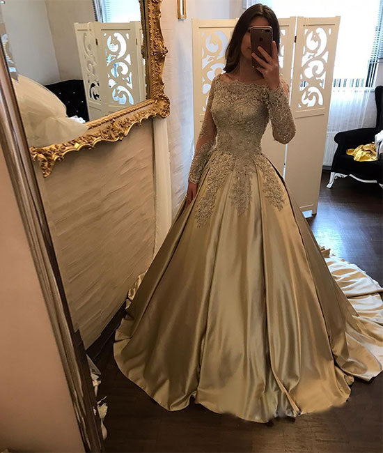 Gold satin lace long prom dress, long sleeve evening dress