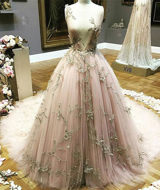 Unique tulle applique long prom dress, formal dress - shdress