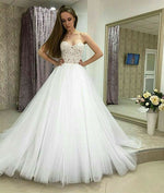 White sweetheart neck lace tulle long prom gown, lace evening dress