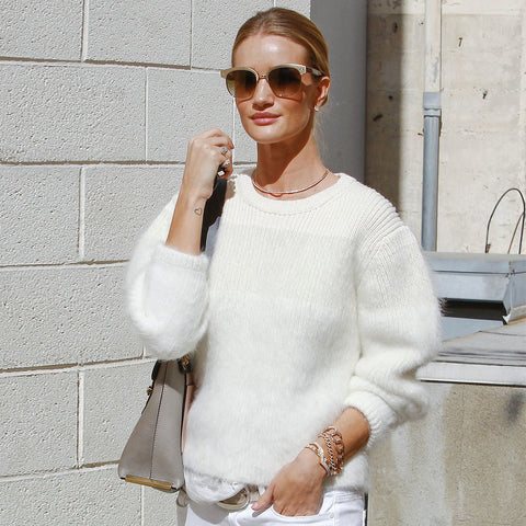 Rosie Huntington in White Winter Look, PopSugar Fashion
