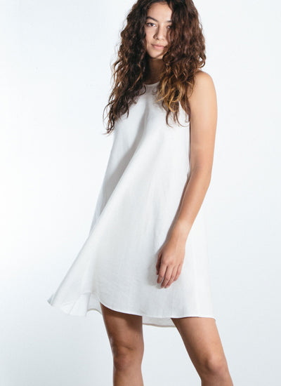 Jackie-O Lace Up Linen Tunic Dress White