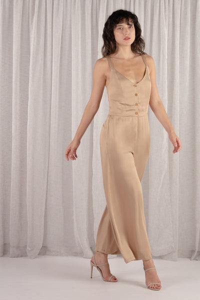 Amber Front Button Overall Jumpsuit - Latte