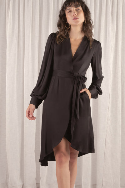 Martha Split Wrap Dress - Black