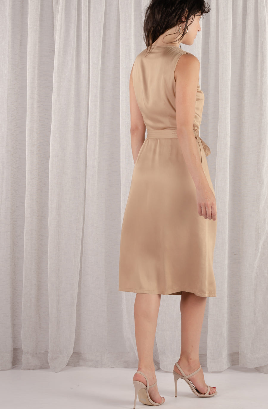 Petra Front Button Dress - Latte