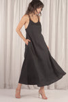 Young Blood Linen Swing Maxi Black