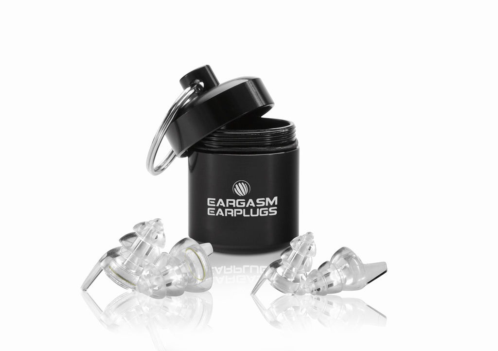 Eargasm Earplugs branded carrying case, with a pair of the Standard size earplugs with the transparent filters pre-inserted, and a pair of the small size shells in front of it.