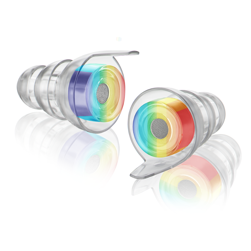 A pair of Standard size High Fidelity Earplugs in the rainbow edition.
