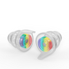 A pair of small size High Fidelity Earplugs in the rainbow edition.