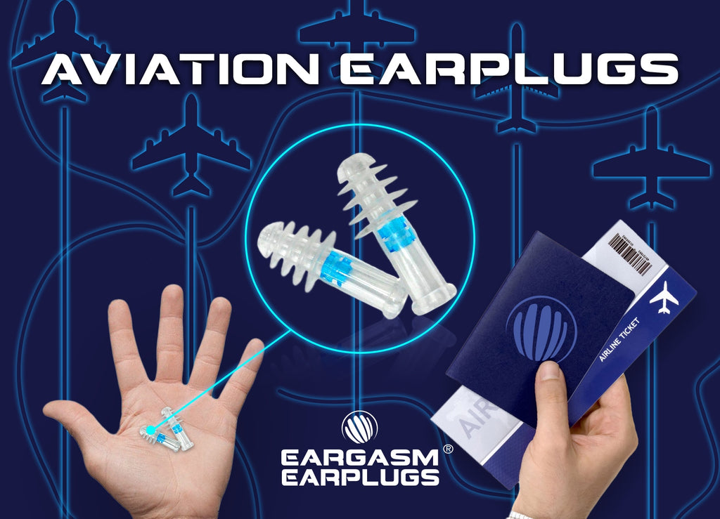 Two hands; one is holding a pair of Eargasm Aviation Earplugs and the other is holding a passport and tickets
