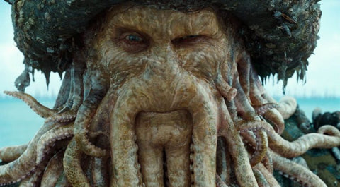 Davy Jones from Pirates of the Caribbean with a beard of squid like tentacles