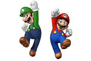 Mario and Luigi jumping with one fist raised