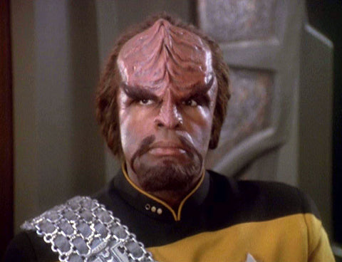 A close up of Commander Worf