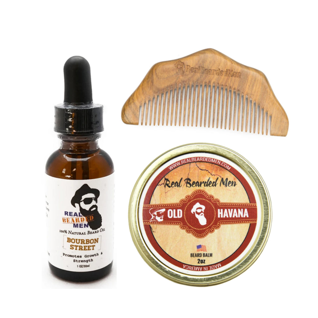 Beard Oil & Balm & Comb Bundle (Pack of 3) - Real Bearded Men