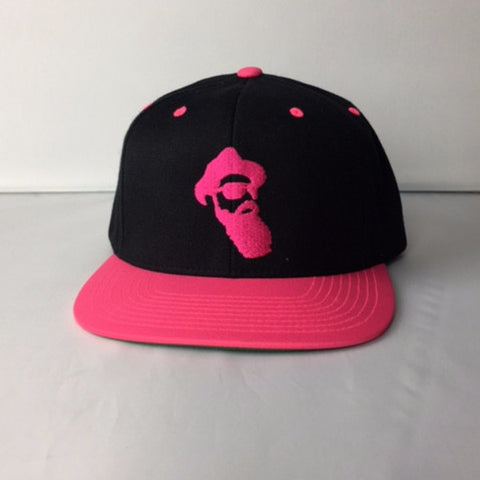 Real Bearded Men Snap Back For Her - Pink On Black
