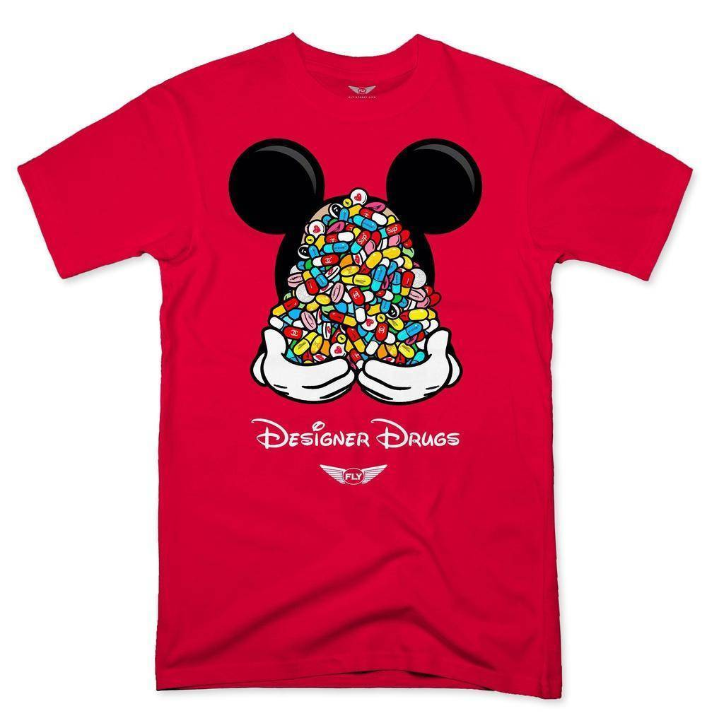 FLY - Designer Drugs Toons Tee-MENS CLOTHING-FLY STREET LIFE-Red-S-streetwear-from-FlyStreetLife