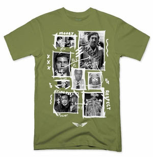 FLY - Greatest Gangsters Art Tee-MENS CLOTHING-FLY STREET LIFE-Military Green-S-streetwear-from-FlyStreetLife