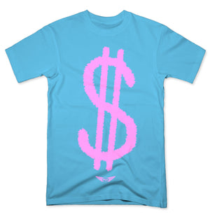 FLY - Pink Money Sign Tee-TEE-FLY STREET LIFE-PACIFIC BLUE-S-streetwear-from-FlyStreetLife