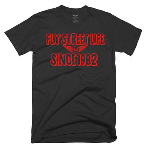 FLY - Since 1982 Tee-MENS CLOTHING-FLY STREET LIFE-Black/Red-S-streetwear-from-FlyStreetLife