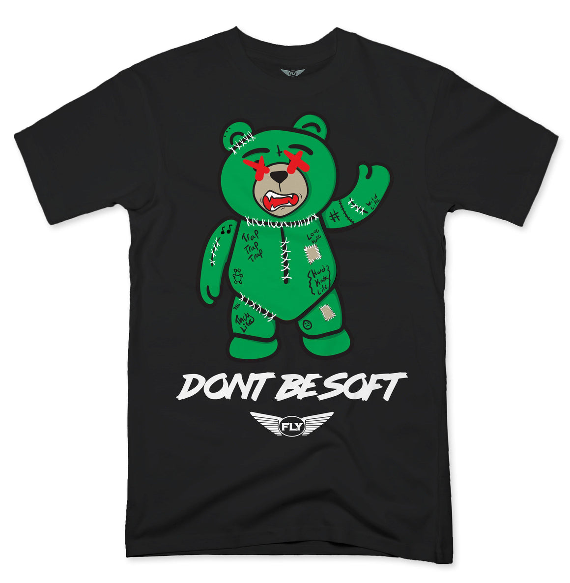 FLY - Stitches Green Bear Tee-TEE-FLY STREET LIFE-BLACK-S-streetwear-from-FlyStreetLife