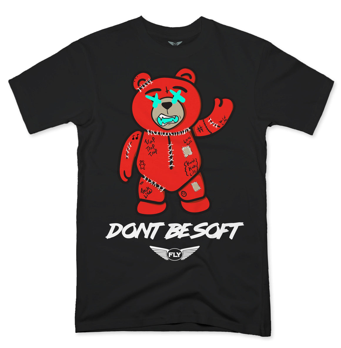 FLY - Stitches Red Bear Tee-TEE-FLY STREET LIFE-WHITE-S-streetwear-from-FlyStreetLife