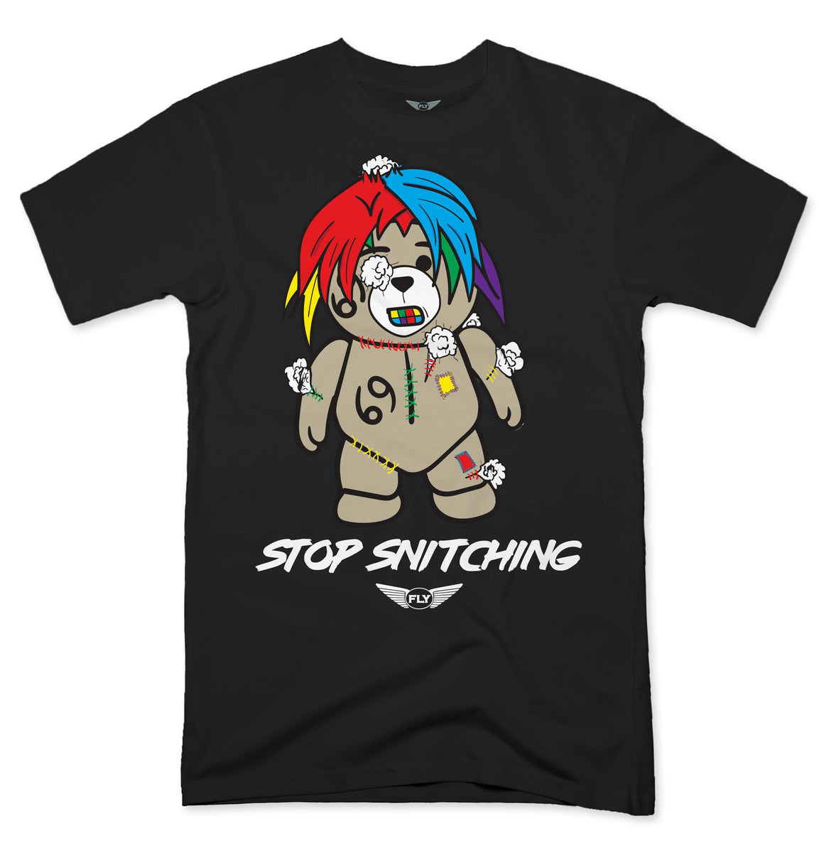 FLY - Stop Snitching Bear Tee-TEE-FLY STREET LIFE-BLACK-S-streetwear-from-FlyStreetLife