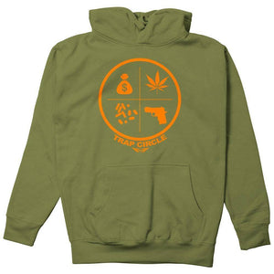 FLY - Trap Circle Hoodie-MENS CLOTHING-FLY STREET LIFE-Military Green/Orange-S-streetwear-from-FlyStreetLife