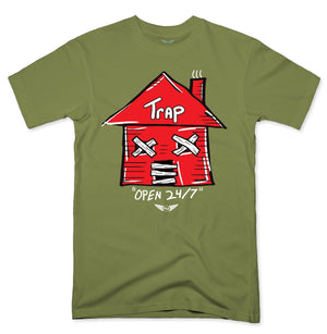 FLY - Trap Red Open 24/7 Tee-TEE-FLY STREET LIFE-MILITARY GREEN-S-streetwear-from-FlyStreetLife