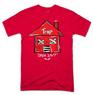 FLY - Trap Red Open 24/7 Tee-TEE-FLY STREET LIFE-RED-S-streetwear-from-FlyStreetLife