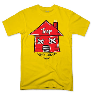 FLY - Trap Red Open 24/7 Tee-TEE-FLY STREET LIFE-YELLOW-S-streetwear-from-FlyStreetLife