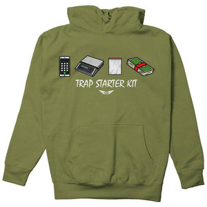 FLY - Trap Starter Kit Hoodie-MENS CLOTHING-FLY STREET LIFE-Military Green-S-streetwear-from-FlyStreetLife