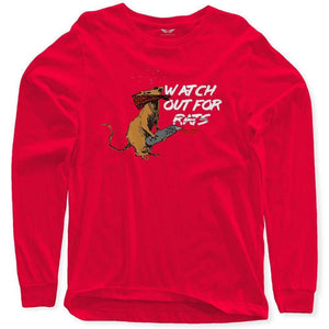 FLY - Watch Out For Rats Long Sleeve-MENS CLOTHING-FLY STREET LIFE-Red-S-streetwear-from-FlyStreetLife