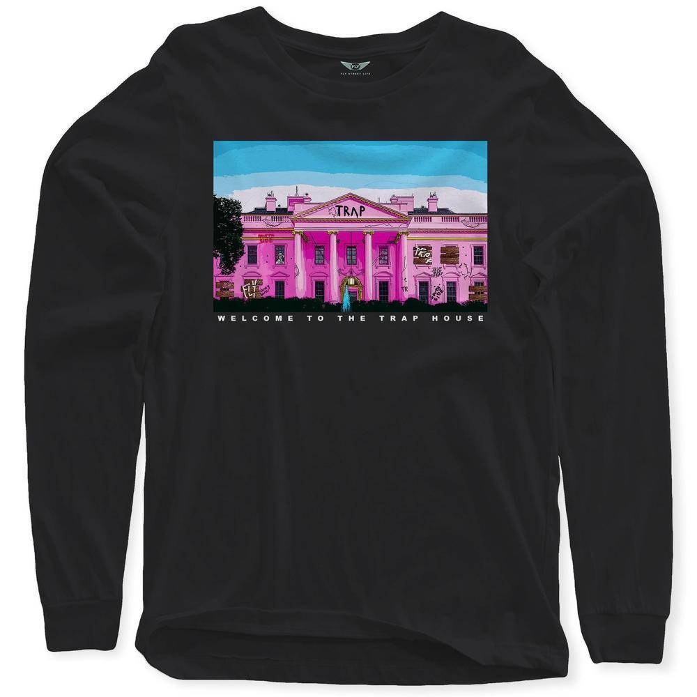 FLY - Welcome To The Pink Trap House Long Sleeve-MENS CLOTHING-FLY STREET LIFE-Black-S-streetwear-from-FlyStreetLife