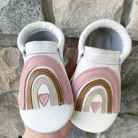 Valentines Drop- Blush Rainbows Moccasins