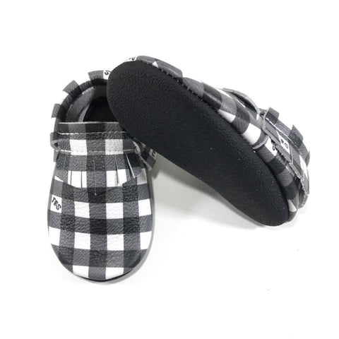 Black/White Plaid Moccasins