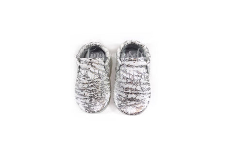 Silver Crackle moccasins