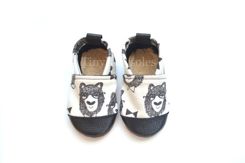 Geeky Bowtie Bear Organic Fabric x Leather Bootie