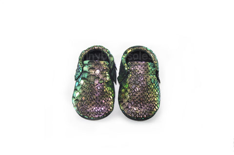ENCHANTED IRIDESCENT SUEDE MOCCASINS