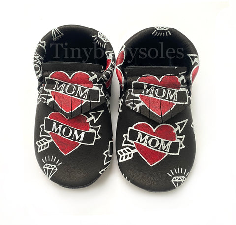 Black MOM hand painted moccasins