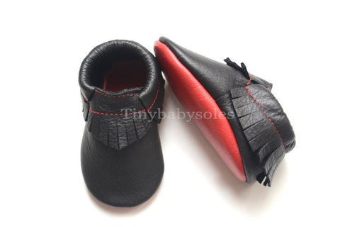 Black with Red Bottoms Moccasins