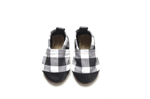 Black/White Plaid Fabric x Leather Bootie