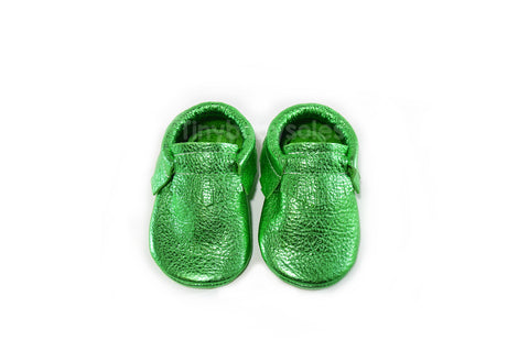 Metallic Green Moccasins