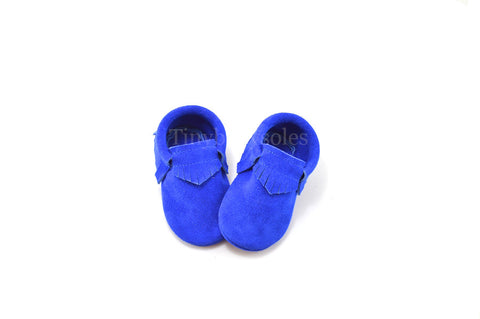 Electric Blue Suede Moccasins