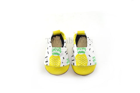 Summer Paradise Pineapple Organic Fabric x Leather Bootie