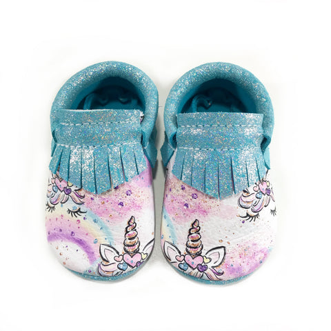 Sparkle Blue Unicorn Moccasins