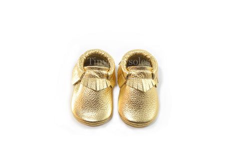 Metallic Gold Moccasins