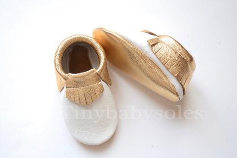 White/Gold Moccasins