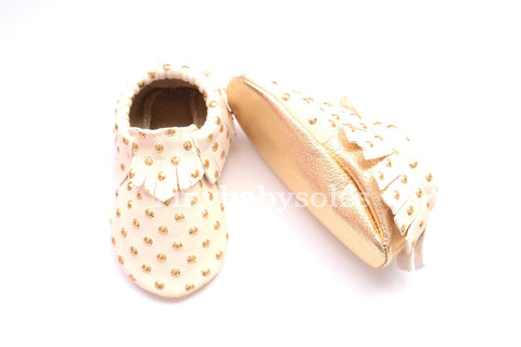 Golden Dots on Cream Moccasins