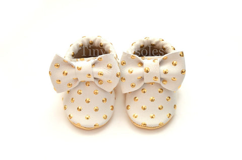 Golden Dots Bow Moccasins