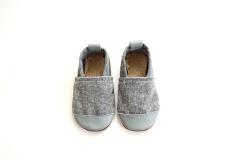 Gray (Ash Fabric) Fabric x Leather Bootie