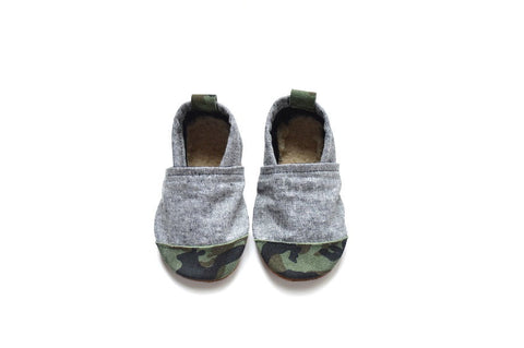Green Camo Suede Fabric x Leather Bootie